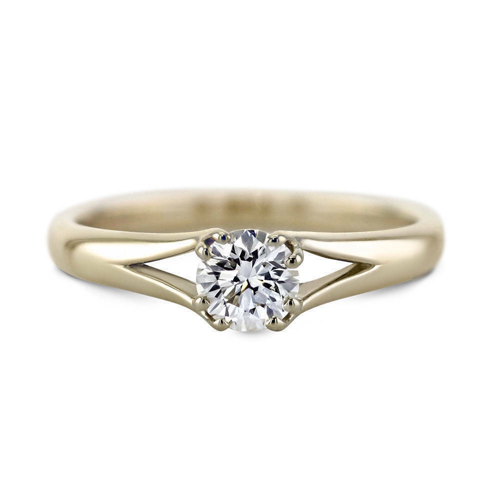 1 Ct Round Cut Diamond Solitaire Engagement Wedding Band Ring 14K Yellow Gold Fn
